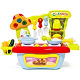The M World Children Compact Kitchen Playset Stove Top and Oven Set with Sound and Light, Utensil Toys Set, Food Toys, Condiment Toys and Mini-Sink and Mini Basket-For Boys and Girls