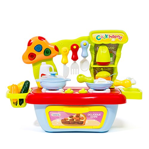 The M World Children Compact Kitchen Playset Stove Top and Oven Set with Sound and Light, Utensil Toys Set, Food Toys, Condiment Toys and Mini-Sink and Mini Basket-For Boys and Girls Childrens Toy Stove
