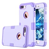 iPhone 7 Plus Case, LONTECT Hybrid Heavy Duty Shockproof Full-Body Protective Case with Dual Layer [Hard PC+ Soft Silicone] Impact Protection for Apple iPhone 7 Plus - Purple (Wireless Phone Accessory)