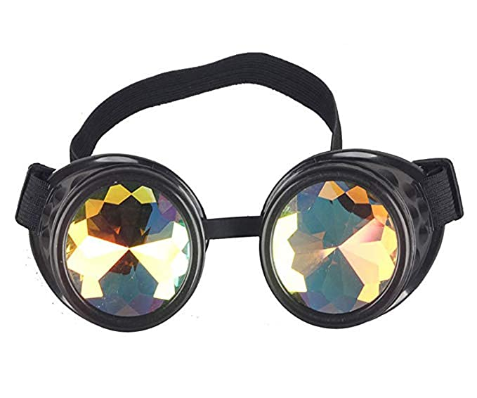 713a133c4f1 Image Unavailable. Image not available for. Color  Kaleidoscope Rave Goggles  Steampunk Glasses ...