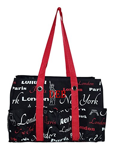 7 Pocket Fashion Print Tote Utility Bag (Personalized NY- Paris-London Print - Black)