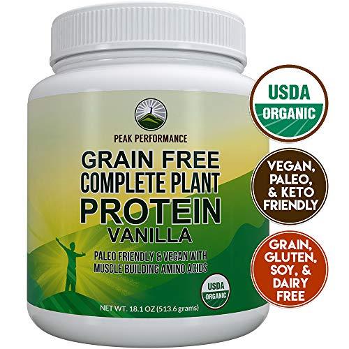 Organic Paleo Grain Free Plant Based Protein Powder Complete Raw Organic Vegan Protein Powder. Amazing Amino Acid Profile and Less Than 1g of Sugar. Hemp Protein Powder, Pea Protein Powder Vanilla (The Best Hemp Protein Powder)