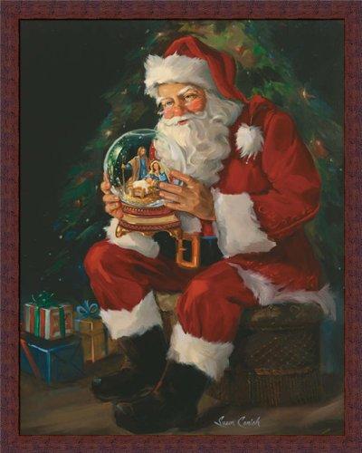 Santa Believes Susan Comish Santa Claus Holding Nativity Snow Globe 24x30 Framed Art Print Picture