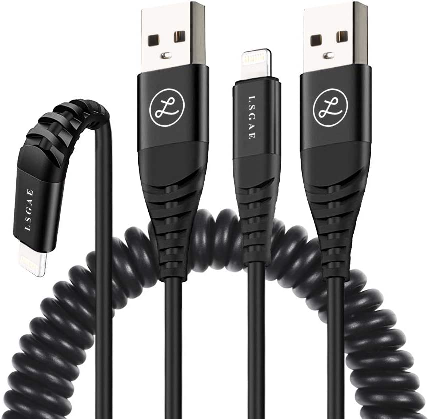 Coiled Phone Cable for Car (2Pack, 4 Ft) Fast Charging & Data Transmission, Retractable Charging Cable, (Black)