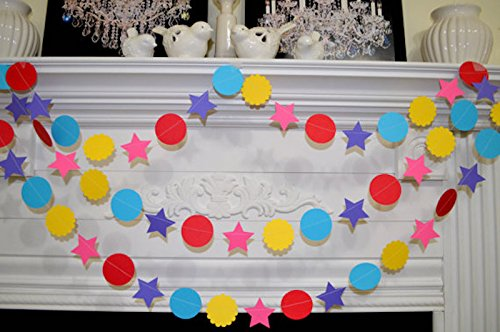 Paper circle stars garland, Red, yellow, blue purple stars, birthday party garland, party decorations, bright colored decorations -