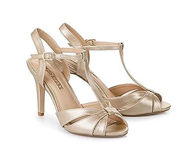 the latest 36c03 159eb Buffalo 312702 T-Steg-Sandalette Gold Synthetik 35: Amazon ...