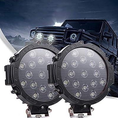 "7"" 51W LED Light Bar, 5100LM Round Spot Pods Light Road Driving Lights Beam Off-road Light Fog Bumper Roof Light for Jeep SUV ATV Truck Boat Tractor (Black): Automotive"