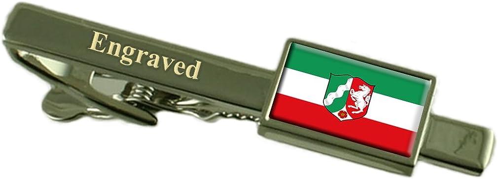 North Rhine-Westphalia State Flag Engraved Personalised Tie Clip