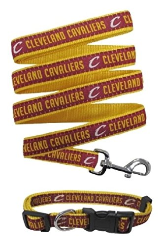 Cleveland Cavaliers Nylon Collar for Pets and Matching Leash (NBA Official by Pets First) Size Medium by Pets First