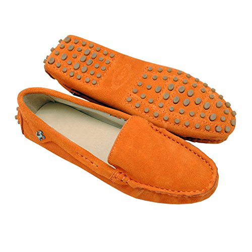 Minishion TYB9601 Womens Round Toe Loafers Boat Shoes Ballet Flats Loafers Light Orange c8nWE