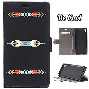 BeCool® - Funda carcasa tipo Libro para Sony Xperia XA, protege tu Smartphone ya que se adapta a la perfección, tiene Función Soporte, ranuras para tus tarjetas y billetes sin olvidar nuestro exclusivo diseño. Flechas de colores.