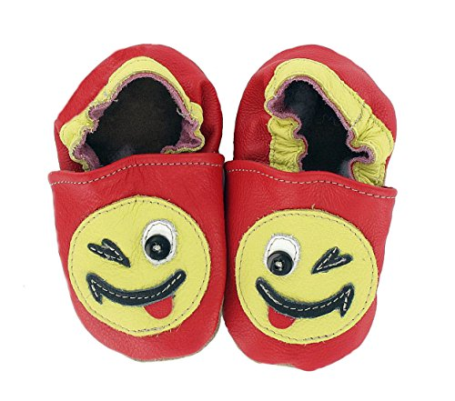 HOBEA-Germany Krabbelschuhe Smiley aus Rindsleder