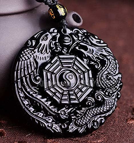 - Natural Black Obsidian Hand Carved Chinese Dragon Phoenix Lucky Amulets, Pendants, Necklaces | Certificate Jewelry
