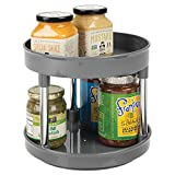 "mDesign 2 Tier Lazy Susan Turntable Food Storage Container for Cabinets, Pantry, Fridge, Countertops - Raised Edge, Spinning Organizer for Spices, Condiments - 9"" Round - Charcoal Gray/Chrome"