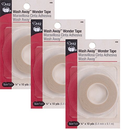 Dritz 406 1/4-Inch by 10-Yard Wash Away Wonder Tape (3 Pack) from Dritz