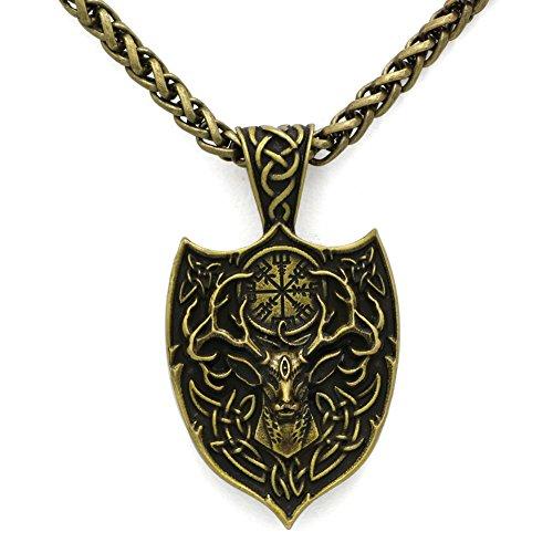 TTKP Men Double Side Viking Deer Sekira Legendary Aegishjalmur Amulet Nordic Talisman pegan Pendant Necklace ()