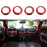 Opar Red 2007 - 2016 Jeep Wrangler Air Conditioning Vent Trim Rings - Set