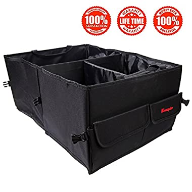Wawacycles Premium Trunk Organizer - Great Cargo Storage Container for Car Truck or SUV - Best Car Organizer for all Cargo - Sturdy Construction and Collapsable Design