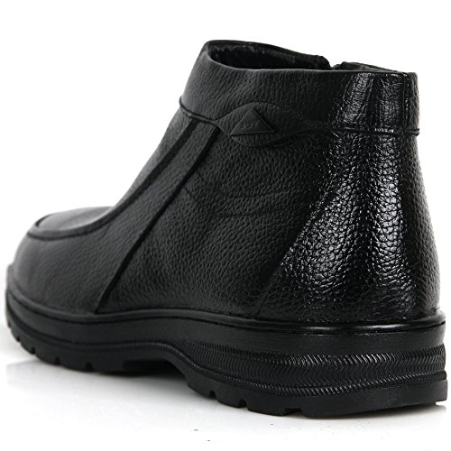 Boots Slip Ankle Snow Mens Black Leather on Winter Dress New Warm Casual Shoes wU0vna