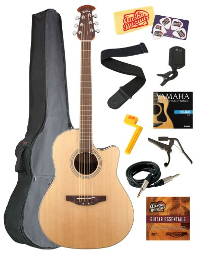 Celebrity Standard Mid-Depth Cutaway Acoustic-Electric Guitar Bundle with Gig Bag, Instrument Cable, Strings, Strap, Tuner, Capo, String Winder, Picks, Instructional DVD, and Polishing Cloth - Natural - Ovation CS24-4