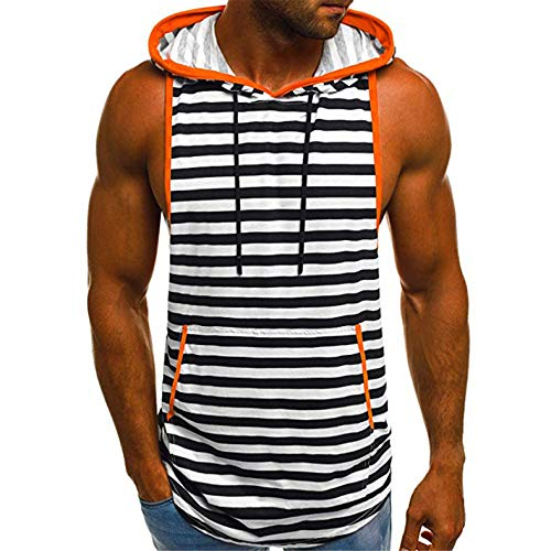 TIFENNY Men's Summer Casual Stripe Print Hooded Fashion Sleeveless Sport T-Shirt Gym Top Vest Blouse Black ()