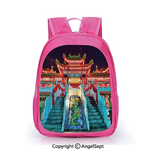 Casual Backpack Waterproof For Kindergarten Students,Colorful Ethnic with Lanterns at Night Celebration Happiness Asian Scene Wall Design Multi,15.7inch,Backpack For Kids Water Resistance
