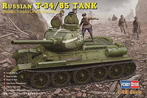 Hobby Boss Russian T-34/85 Tank Model 1944 with Flattened Turret Vehicle Model Building Kit