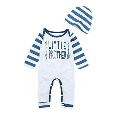 a0f8ce60d 0-24 Months Newborn Long Sleeve Romper, Baby Boys Letter Arrow Print  Jumpsuit+Hat 2Pcs Outfits Clothes: Amazon.co.uk: Clothing