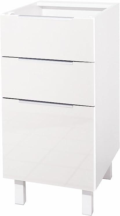 Berlioz Creations Ct4bb Meuble Bas De Cuisine Avec 3 Tiroirs Blanc Haute Brillance 40 X 52 X 83 Cm Amazon Fr Cuisine Maison