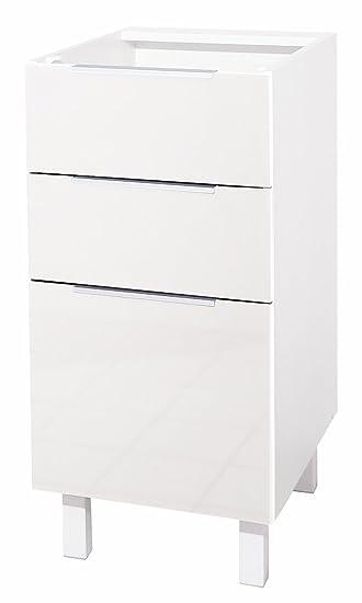Berlenus Küchenunterschrank, mit 3 Schubladen, Hochglanz-Weiß, 40 x ...