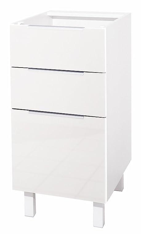 Berlenus Küchenunterschrank, mit 3 Schubladen, Hochglanz-Weiß ...