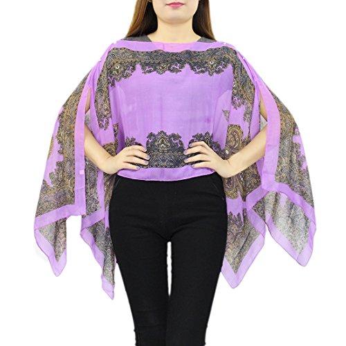 b8cf6febf759 Landove Boheme Caftan Foulard Chic Poncho en Imprime T Couvrir Ethnique  Violet Soie Echarpe de jusqu à Bikini Floral Chemsie Shirt Femme up Cover  Mousseline ...