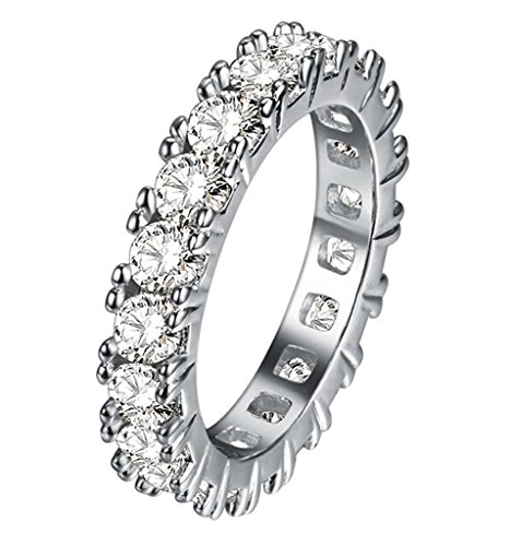 TenFit Jewelry Rhodium Plated Pave Crystals from Swarovski Wide Split Shank Ring Band, Size:6 - Wide Split Shank Ring
