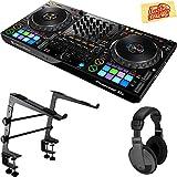 Pioneer DDJ-1000 Professional 4-Channel Controller for Rekordbox DJ Bundle with Stand, Headphones, and Austin Bazaar Polishing Cloth