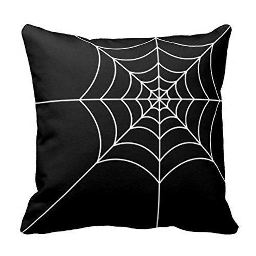 Linkla Danniol Black and White Spider Web Square decorative Throw Pillow...