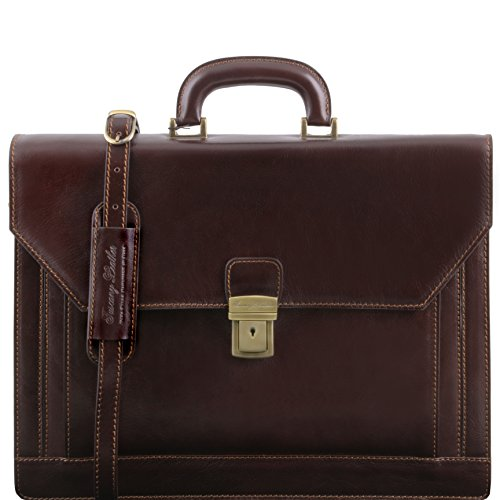 Tuscany Leather - NAPOLI 2 compartments leather briefcase with front pocket Dark Brown - TL141348/5