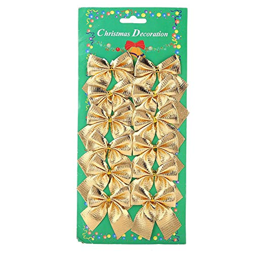 (Qiterr 12pcs/Set Christmas Decorations Cute Festive Bowknot Pendant for Christmas Tree Indoor Party Charms Ornaments(Gold))