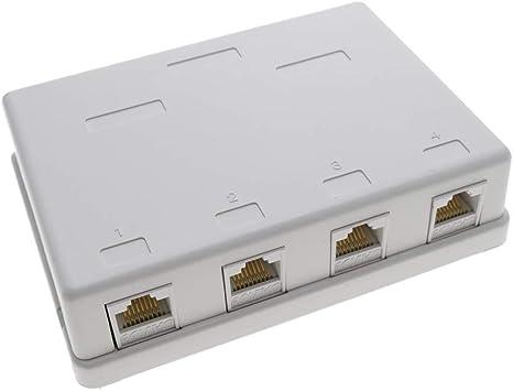 BeMatik - Caja de superficie de 4 RJ45 Cat.5e UTP: Amazon.es: Informática