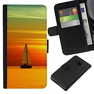 All Phone Most Case / Oferta Especial Cáscara Funda de cuero Monedero Cubierta de proteccion Caso / Wallet Case for HTC One M9 // Sunset Ship Beautiful Nature 6