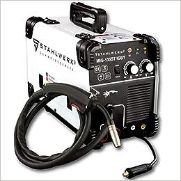 Acero de Mig 135 St IGBT - Mig Mag - Gas sudor dispositivo con 135 Amperio, Flux alambre de relleno Adecuado, con MMA S de mano, color blanco, ...