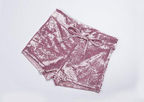 Pantaloni Nero Pantaloncini Primavera Corti Vintage Colore Velluto Ragazza Shorts Eleganti Solido Estivi Skinny Moda Coulisse Donna Abbigliamento 1w6qr1xXa
