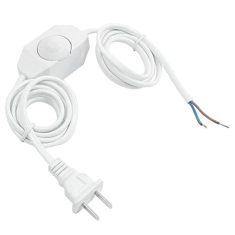 Interruptor de regulador de intensidad - SODIAL(R) Cable de energia de lampara blanca con Interruptor de regulador de intensidad AC 250V/110V clavija ...