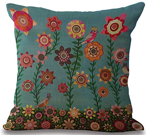 Cotton Linen Pillow Sham Indoor/Outdoor Cushion Covers Summer time Bird Tree Print Square 18X18 inch ()