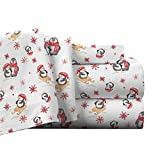 Pointehaven Flannel Deep Pocket Sheet Set with Oversized Flat Sheet, Twin X-Long, Penguin
