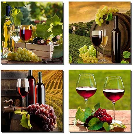 789Art – Grapes Wine Canvas Wall Art Abstract Wine Cup And Bottle Modern Decorative Painting Artwork Still Life Pictures Decorations For Dining Room Bar Kitchen Home Decor(12