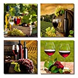 wine and grapes canvas art - 789Art - Grapes Wine Canvas Wall Art Abstract Wine Cup And Bottle Modern Decorative Painting Artwork Still Life Pictures Decorations For Dining Room Bar Kitchen Home Decor(12