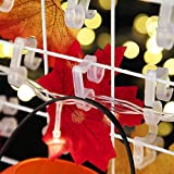 100 Pieces Christmas Light Clips Outdoor Hang Hooks for Gutter Shingle String Lights, White