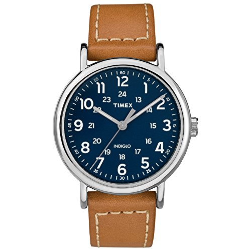 (Timex Men's TW2R42500 Weekender 40 Brown/Blue Leather Strap)