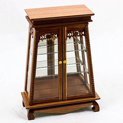 HAMBAEKU Antique Wood Cabinet Shelf Display Double Swing Door Miniature Dollhouse (Wood Doll Antique)