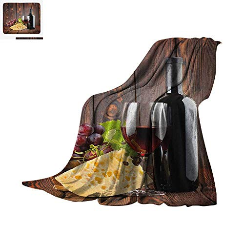 Luoiaax Wine Warm Microfiber All Season Blanket Red Wine Cabernet Bottle and Glass Cheese and Grapes on Wood Planks Print Summer Quilt Comforter 50